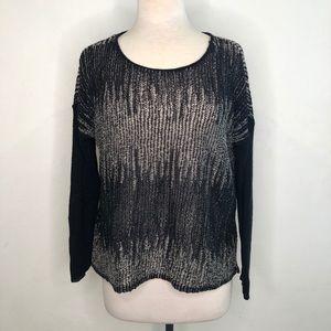Eileen Fisher Loose Open Knit Wool Lined Sweater L